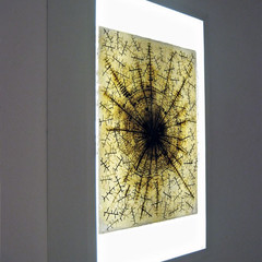 Climate Drawing Mixed media on Amate paper; lightbox 60cm(h) x 40cm(w) x 15cm(d) 2001-2010