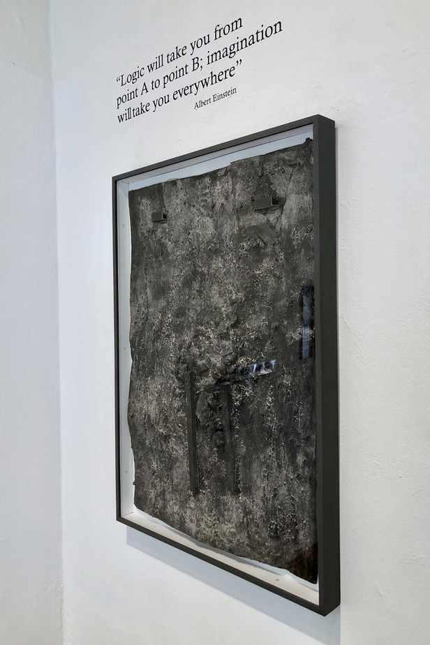 The Weight of Gravity (installation view)  Debris Painting 2020 Mixed media on board 84cm(h) x 45cm(w)