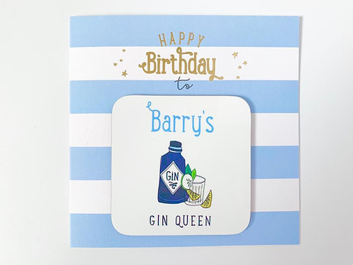 Barry's Gin Queen Coaster Card