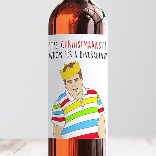 Christmas Beveragini Wine Label