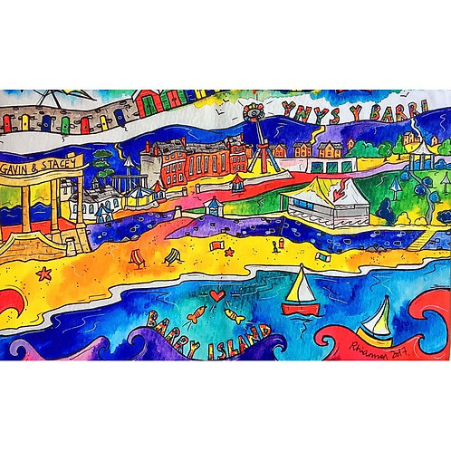 Rhiannon Art Barry Island Tea Towel