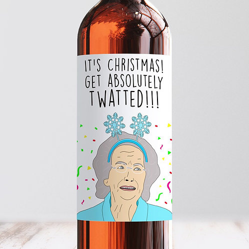 It's Christmas - Get Twatted Wine Label