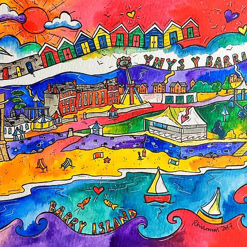 Rhiannon Art Happy Barry Island Print