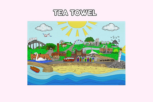 Barry illustration colour tea towel