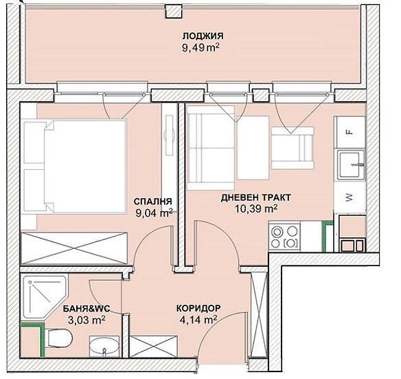 Двустаен апартамент (51м2) за продажба в ж.к. Хладилника