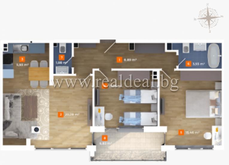 Тристаен апартамент (103м2) за продажба в Лагера - RD-1692