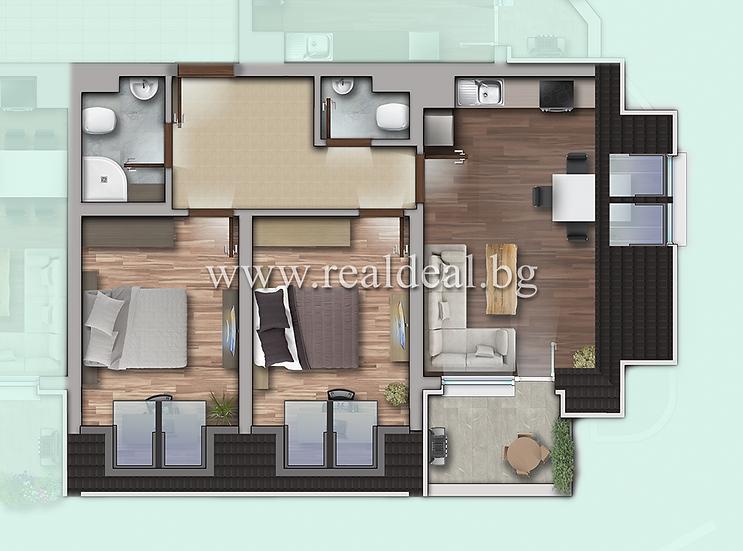 Тристаен апартамент (98м2) за продажба в Дружба 1 - RD-1922