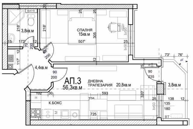 Двустаен апартамент (67м2) за продажба в Млдост 4 - RD-1956