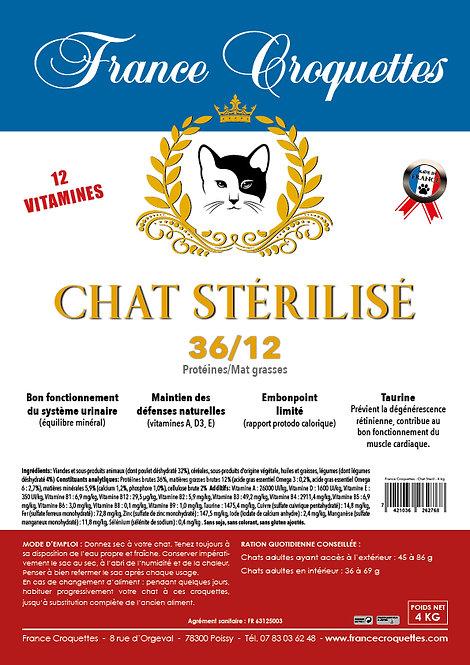 CHAT STÉRILISÉ 36/12 - sac 4 kg