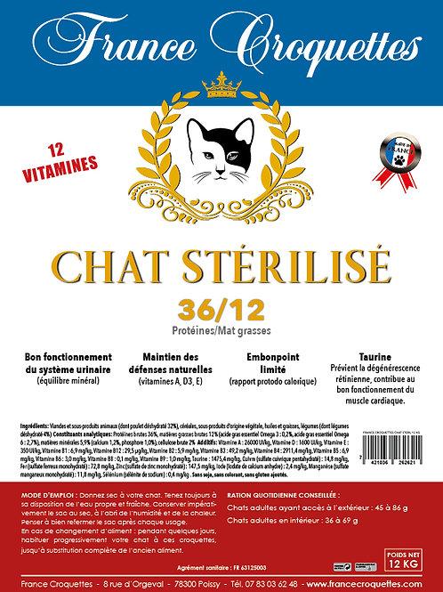 CHAT STÉRILISÉ 36/12 - sac 12 kg