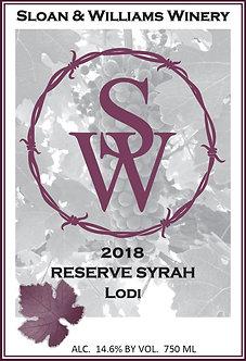 2018 Reserve Syrah - Lodi