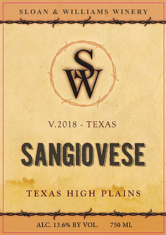 2018 SANGIOVESE - TEXAS HIGH PLAINS