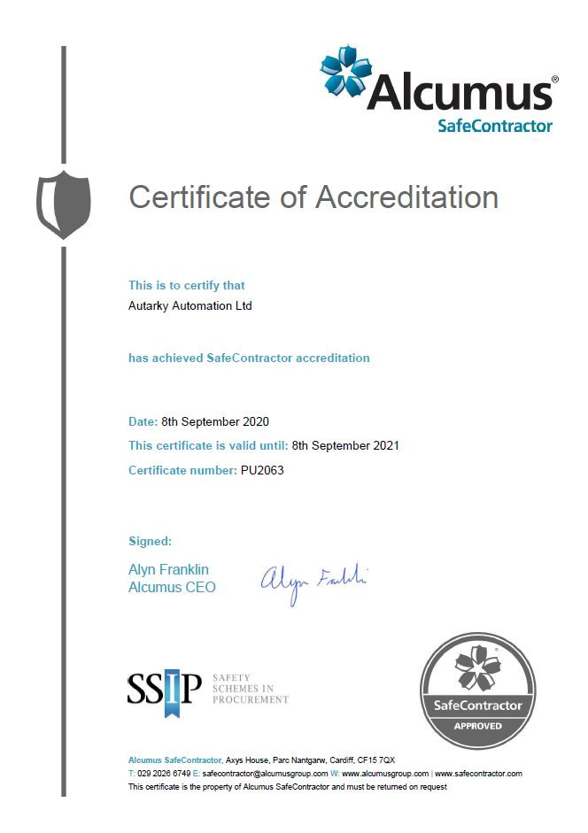 Autarky Automation SafeContractor certificate for 2020 - 2021