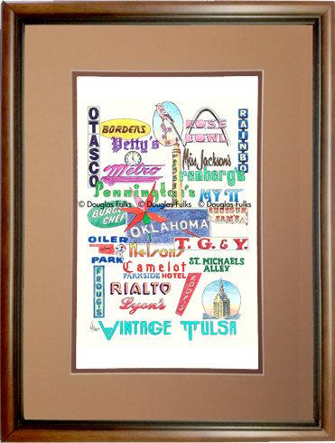 Tulsa, Oklahoma Vintage Framed