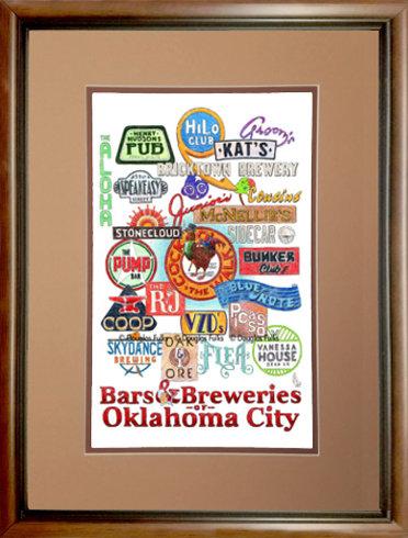 Oklahoma City - Bars of OKC  Framed