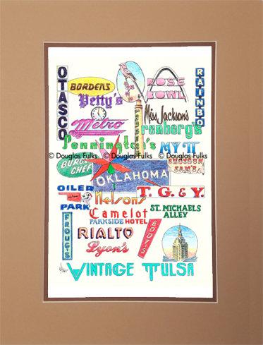 Tulsa, Oklahoma Vintage Matted