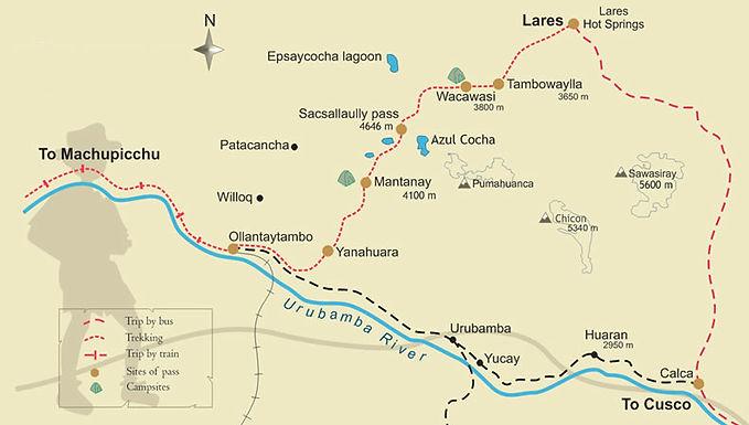 Carte et guide du trek de Lares