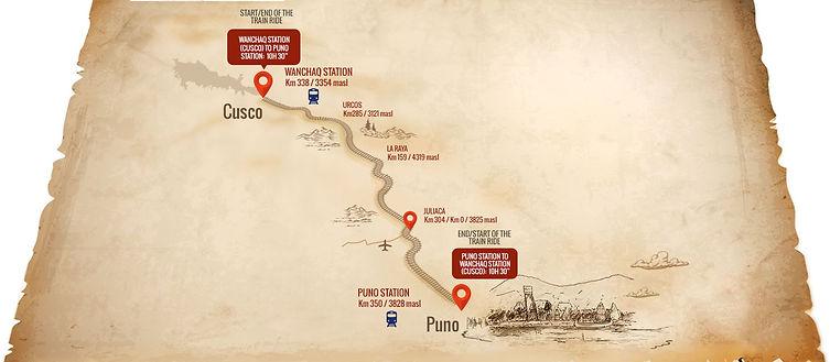 Carte et route Peru Rail Titicaca Cusco Puno