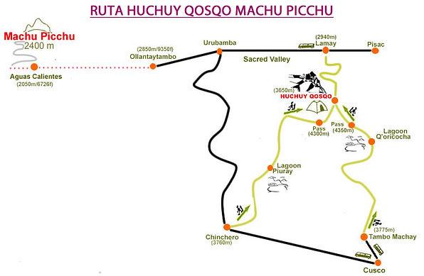 Carte et guide du trek de Patabamba Huchuy Qosqo
