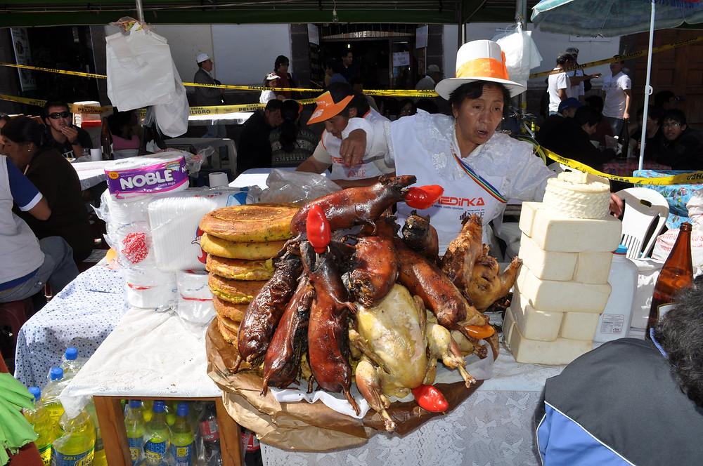 Le Cochon d'inde repas de fête au Pérou