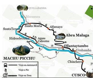Carte Machu Picchu à pied par Santa Teresa et Hidroelectrica