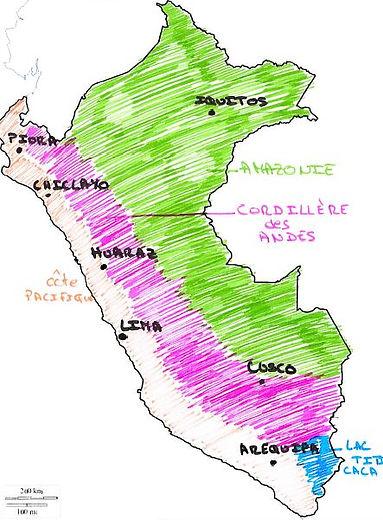 Régions du Pérou : Amazonie, la Cordillére des Andes, cote pacifique
