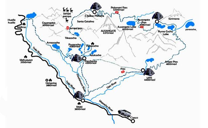 Carte et guide du Trek de l'Ausangate, cordillère de Vilcanota
