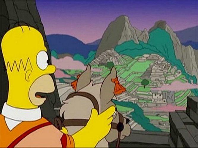 Homer Simpson au Machu Picchu