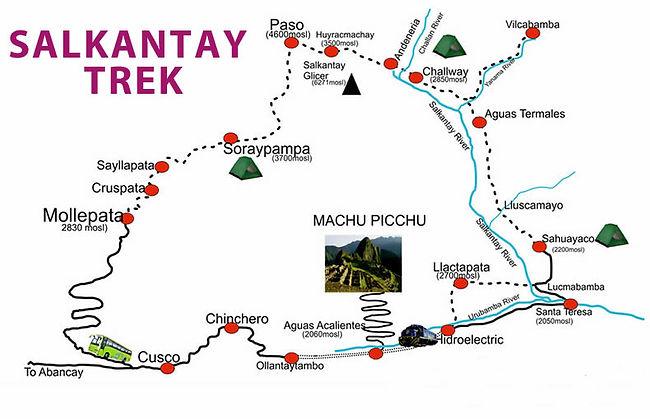 Carte et guide du trek de Salkantay