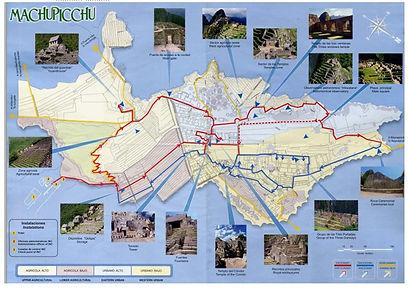 Carte de la visite à voir du Machu Picchu