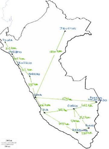 Les distances, villes au Pérou