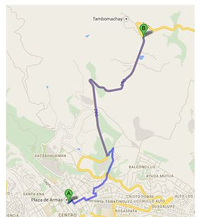 Carte en taxi Tambo Machayà Cusco