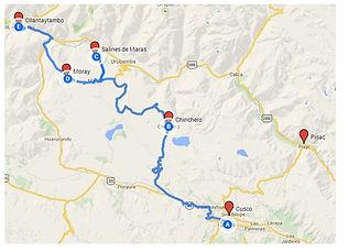 Carte pour aller aux Salines de Maras