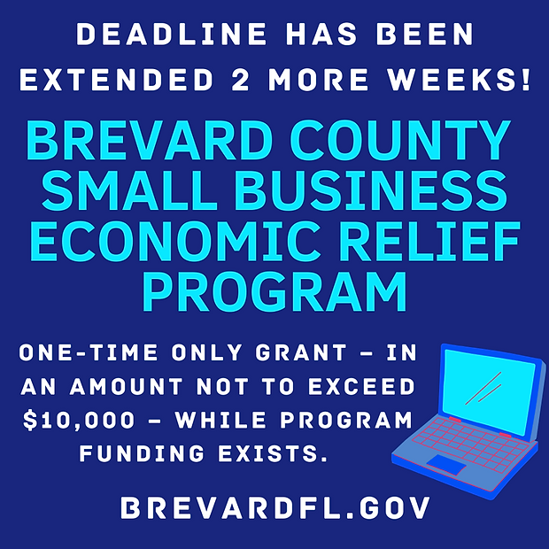 Brevard County Small Businesses/Nonprofits Economic Relief Grant Program Ends Dec. 18