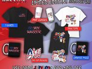 Limited Edition Arcade Warrior 4th of July Merch!