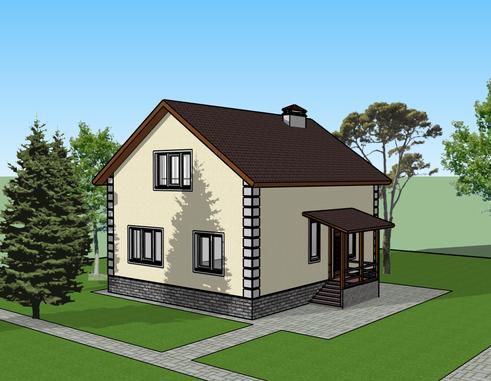 Общий вид дома «Эко 2» 95 кв. м.