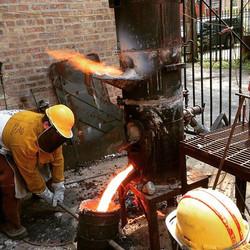 "10"" blast furnace for melting iron."