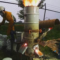 "13"" blast furnace for melting iron."