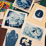 blue photos on table