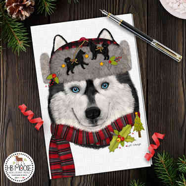 Mack the Husky Christmas Card