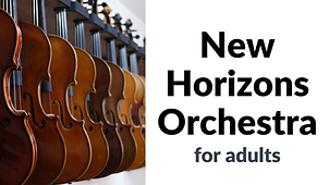 Buttom for Cache Valley New Horizons Orchestra, also known as NHO.  This program is for adults to learn and play a string instrument in a class setting.Click to find more information about this program.