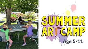 Buttom for Summer Art Camp.  Program is for ages 5-11. Click to find more information about this program.