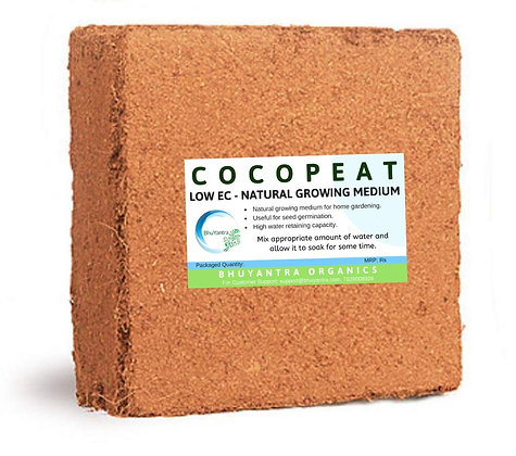 COCOPEAT Block  Low EC- 5 Kg Expands Upto 75 litres of Coco peat Powder