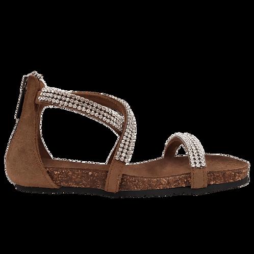 Sandalo incrocio con strass