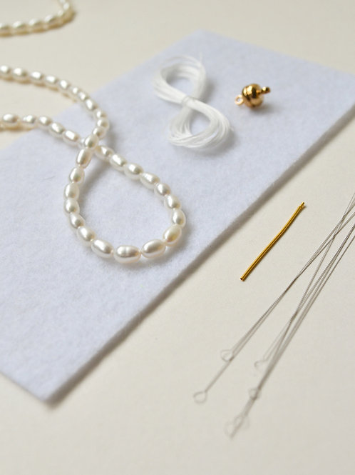 KNOTTED Pearl Kit: White Necklace