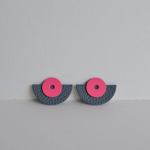 Large Play Earrings in Slate Grey + Pink