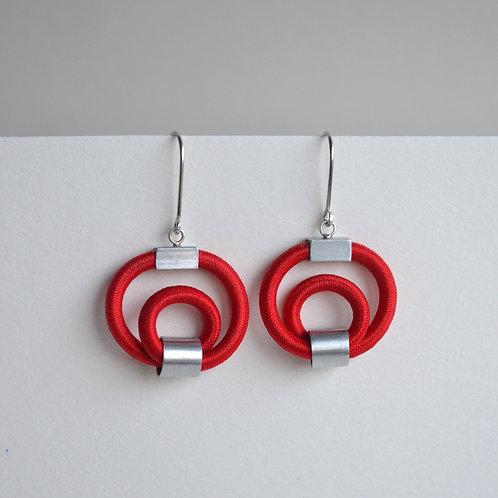 Bright Red Hoop Earrings
