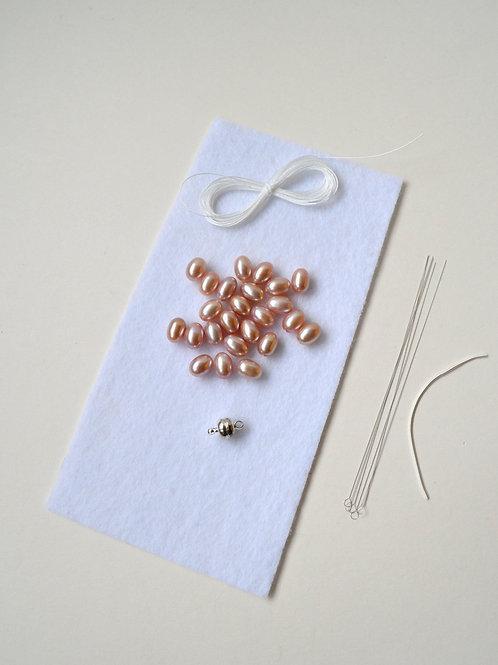 KNOTTED Pearl Kit: Pink Bracelet
