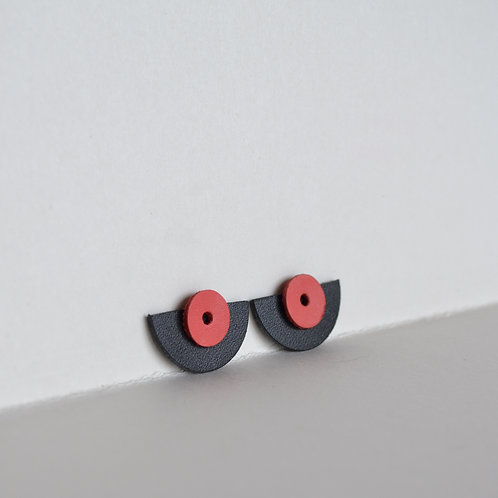 WHOLESALE Small Play Earrings in Black+Pink