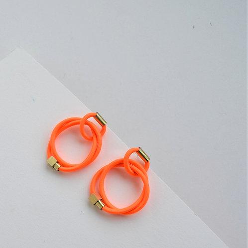 Neon Orange Double Knot Hoops